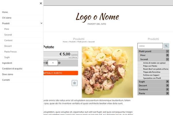 crea sito internet e-commerce pranzi pronti e alimenti