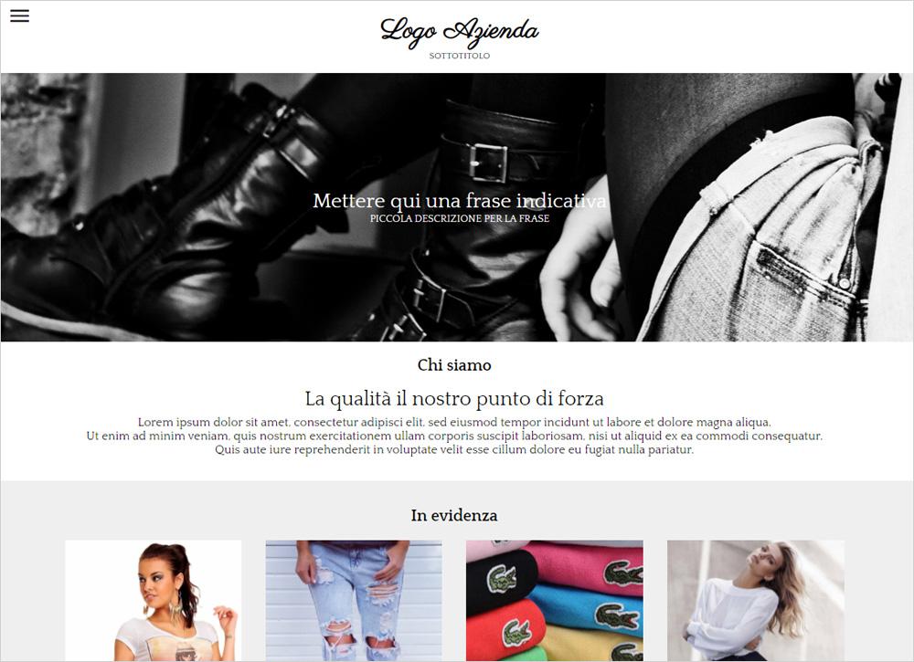 crea sito web per negozio di abbigliamento