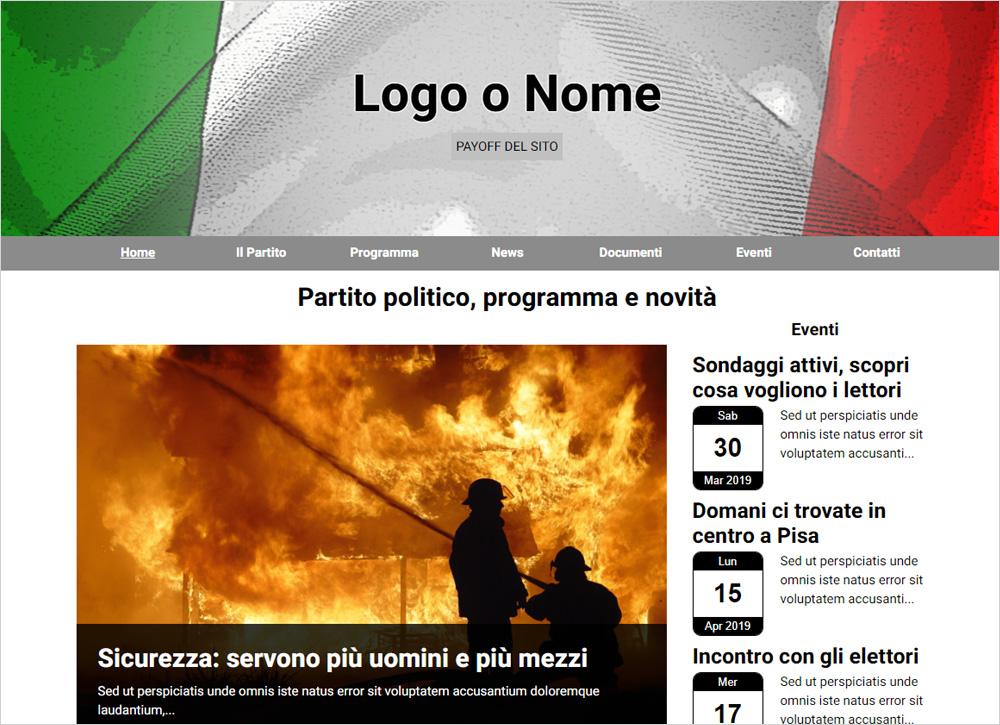 crea sito web per partito politico