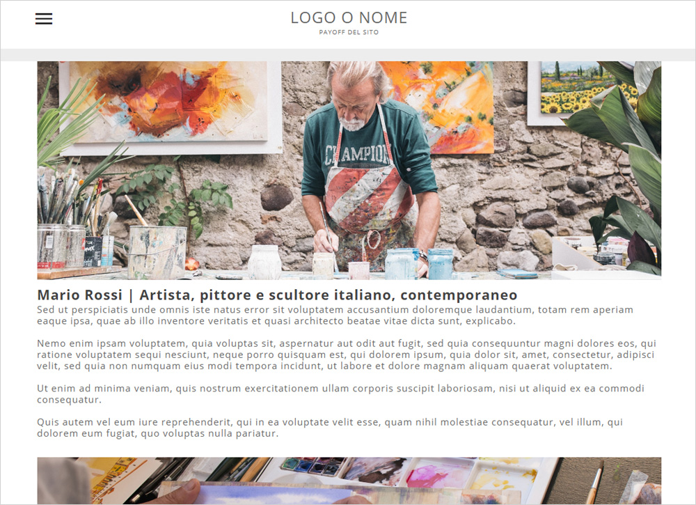 crea sito web per pittore