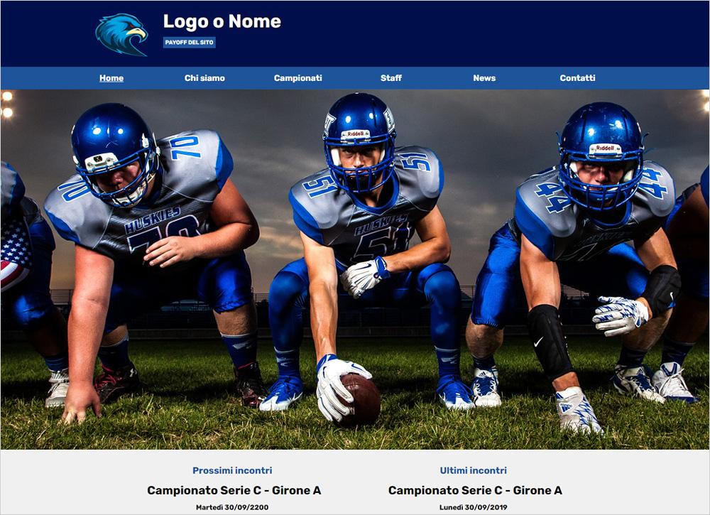crea sito web per squadra di rugby