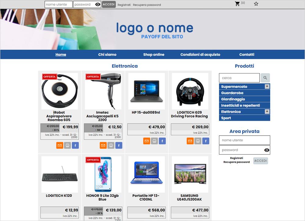 crea sito web per supermercato