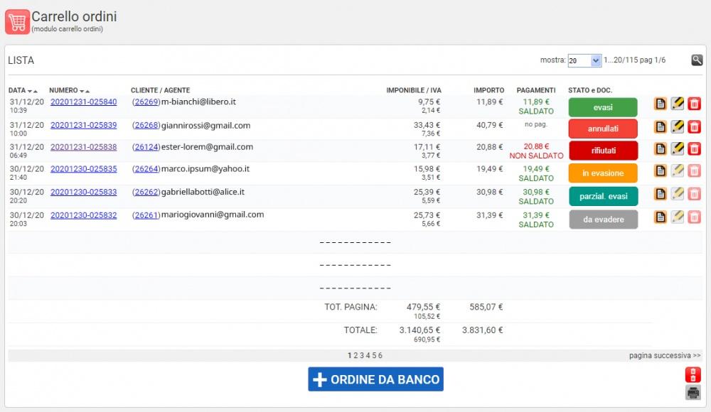 elenco ordini sito web e-commerce - pannello di gestione