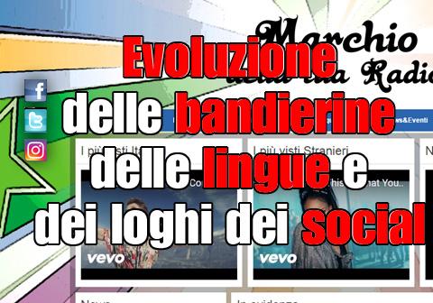 Evoluzione delle bandierine delle lingue e dei loghi dei social