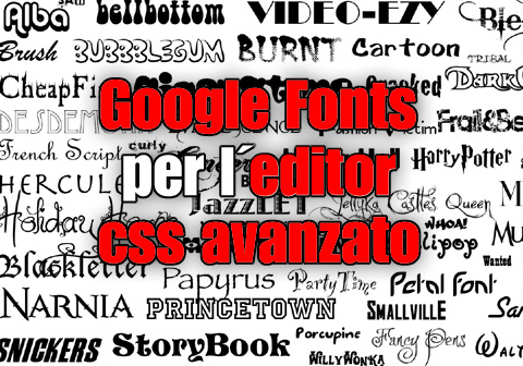google fonts per editor css avanzato