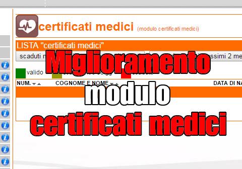 miglioramento modulo certificati medici
