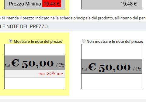 mostrare o no le note del prezzo di un prodotto
