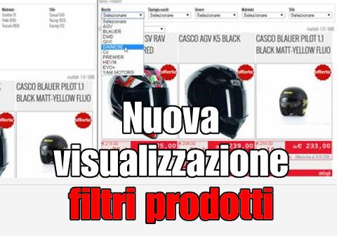 nuova visualizzazione filtri prodotti