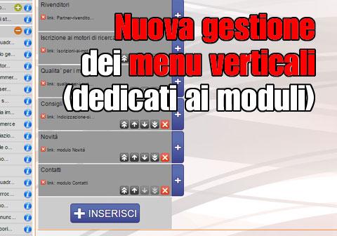Nuova gestione dei menu verticali (dedicati ai moduli)