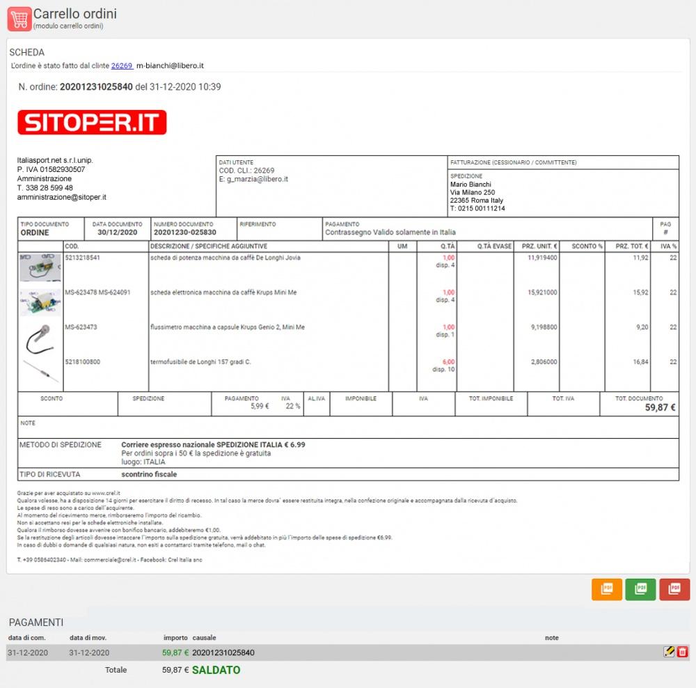 scheda ordine sito web e-commerce - pannello di gestione