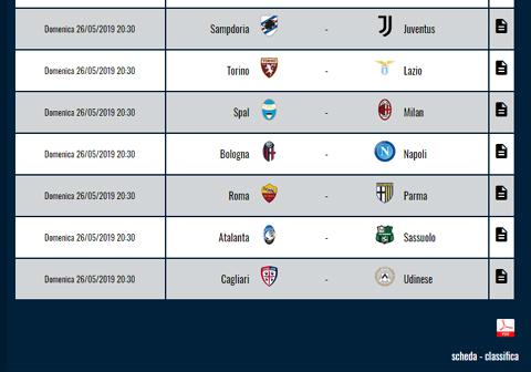 stampa download pdf calendario classifica campionati